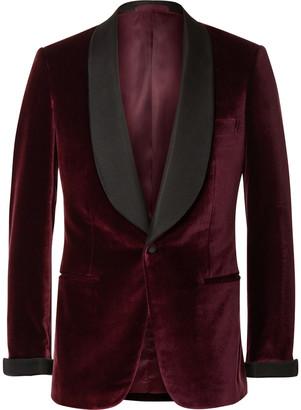 Kingsman Burgundy Slim-Fit Faille-Trimmed Velvet Tuxedo Jacket $1,995 thestylecure.com