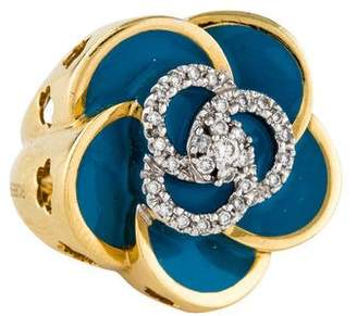 Roberto Coin 18K Diamond & Enamel Flower Ring
