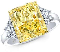 Rahaminov Diamonds Yellow Radiant-Cut Three-Stone Diamond Ring in Platinum & 18k Gold