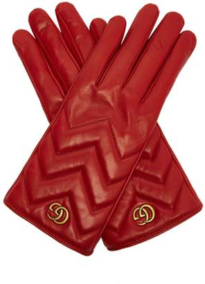 Gucci GG Marmont chevron-quilted leather gloves