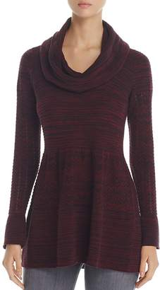 Heather B Cowl Neck Pointelle Sweater