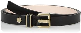 Calvin Klein Women's 20mm Semi-Shine Belt with Metal Loop with Leather Inlay