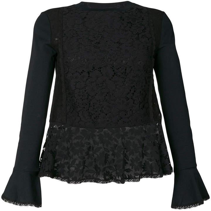 See by Chloe sheer hem lace blouse