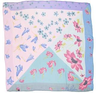 Halston Silk Floral Print Scarf