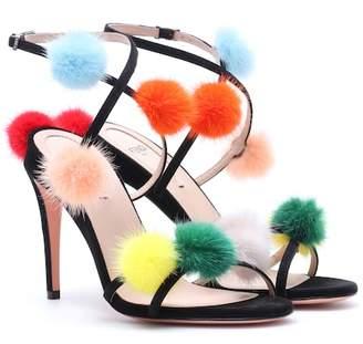 Fendi Fur-trimmed suede sandals