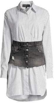 KENDALL + KYLIE Cotton Stripe Shirtdress With Denim Corset