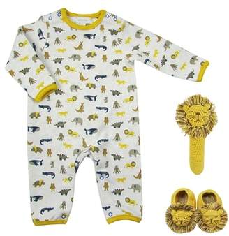 Albetta Animal Parade Romper, Crochet Rattle & Booties Set