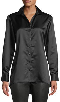 Finley Satin Button-Front Trapeze Blouse