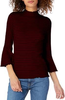 Michael Stars Rachel Stripe Mock Neck Top