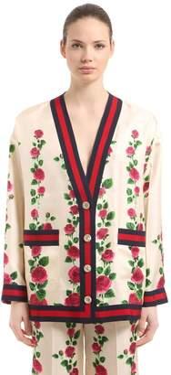 Gucci Rose Printed Silk Twill Cardigan Jacket