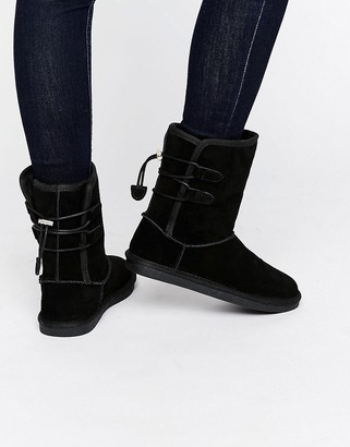 Call it Spring Call It Spring Bridia Tie Back Black Nubuck Boots $113 thestylecure.com