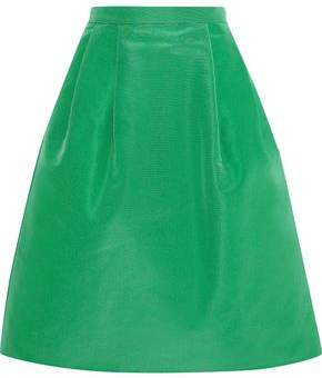 Oscar de la Renta Pleated Silk-faille Skirt