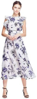 Lela Rose Floral Embroidered Organza Ruffle Bodice Full Skirt Dress