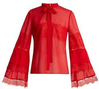 Giambattista Valli Tie Neck Lace Trimmed Silk Georgette Blouse - Womens - Red