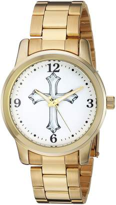 EWatchFactory Men's 'EW Cross Rnd Brac' Quartz Metal and Alloy Casual Watch, Color:-Toned (Model: 69791-A)