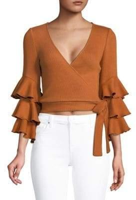 Saylor Kaia Ruffle-Sleeve Wrap Top