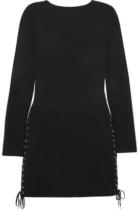 McQ Alexander McQueen - Lace-up Jersey Mini Dress - Black $465 thestylecure.com