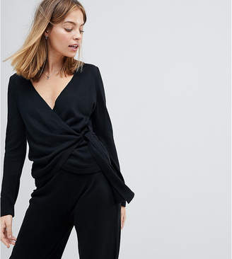Asos DESIGN Petite Sweater With Wrap And Tie