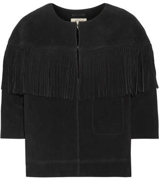 Current/Elliott - The Junie Fringe-trimmed Suede Jacket - Black $900 thestylecure.com
