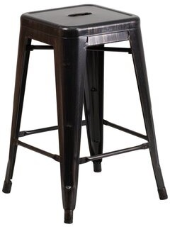 Williston Forge Williston Forge 24'' High Backless Black-Antique Gold Metal Indoor-Outdoor Counter Height Stool With Square Seat Williston Forge