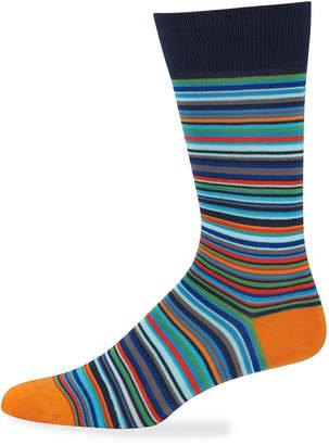 Jared Lang Men's Micro-Striped Cotton Socks