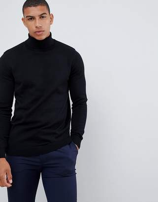 New Look roll neck sweater in black