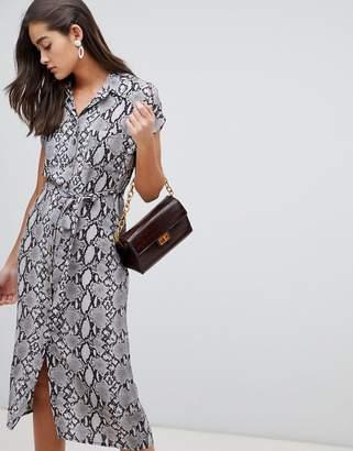 New Look animal print midi shirt dress in gray pattern