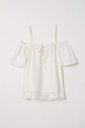 e90d7861ffecd White Open Shoulder Blouse - ShopStyle
