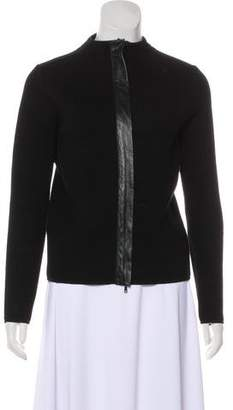 Max Mara Leather-Trimmed Zip-Up Jacket