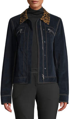 Lafayette 148 New York Kesha Leopard-Collar Zip-Front Primo Denim Jacket