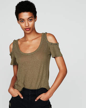 Express One Eleven Lace-Up Shoulder Dolman Tee