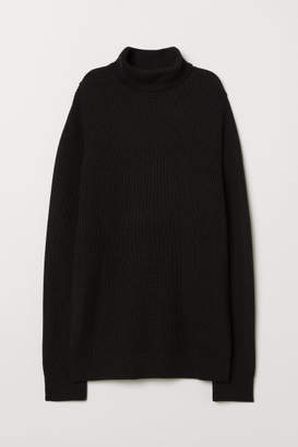 H&M Rib-knit Turtleneck Sweater - Black