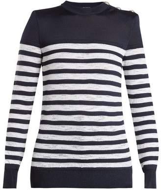 Balmain Button Shoulder Crew Neck Striped Sweater - Womens - Blue White