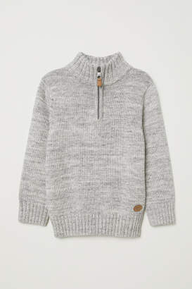 H&M Knit Sweater with Collar - Gray