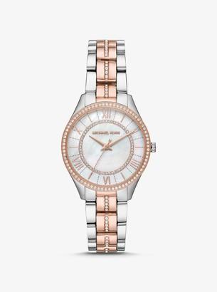 Michael Kors Mini Lauryn Pave Two-Tone Watch