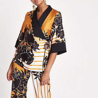 River Island Womens Orange print kimono wrap top