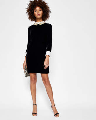 Ted Baker SHARALI Embellished collar velvet dress