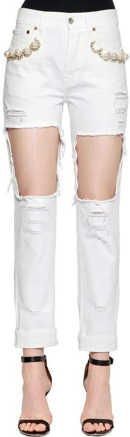 Jeans Aus Baumwolldenim Mit Verzierung