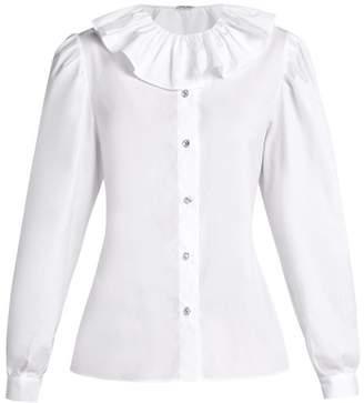 Miu Miu Ruffled Collar Cotton Poplin Blouse - Womens - White
