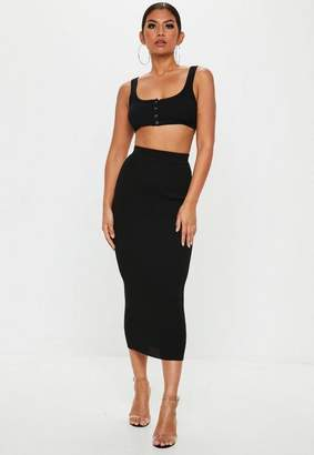 Missguided Black Knit Popper Crop Top Co Ord