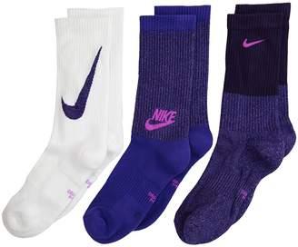 Nike Performance Cushioned Mesh Crew Training Socks 3-Pair Pack Kids Shoes