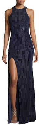 La Femme Vertical Beading Crisscross Back Velvet Gown