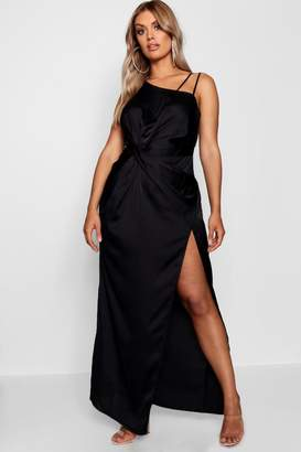 boohoo Plus Satin Knot Front Maxi Dress