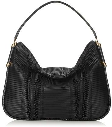 Jimmy Choo Zoe Pleated Coated Fabric Shoulder Bag