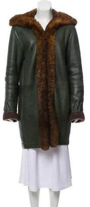 Balenciaga Fur-Trimmed Shearling Coat