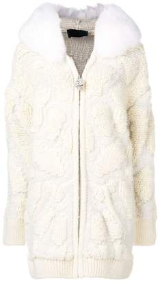 Philipp Plein trimmed collar knitted jacket