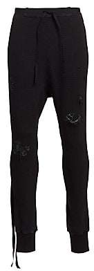 Unravel Project Men's Distressed Waffle Knit Jogging Pants