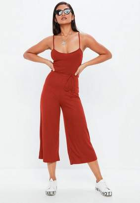 Missguided Rust Ribbed Culotte Romper