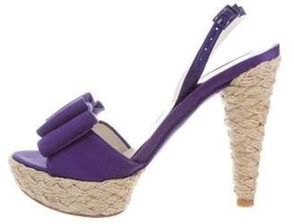 Stuart Weitzman Bow-Accented Espadrille Sandals