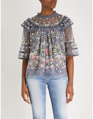 NEEDLE AND THREAD Floral-embellishment chiffon top